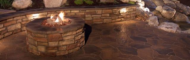 Landscape Installation - Stone fire pits - Chappaqua NY